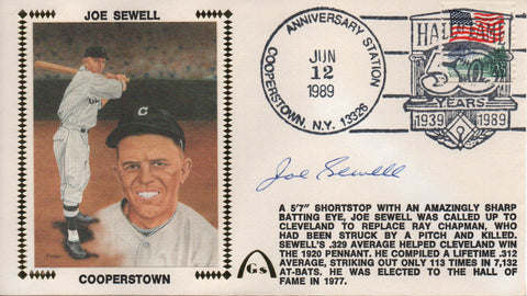 Joe Sewell Autographed June 12, 1989 First Day Cover