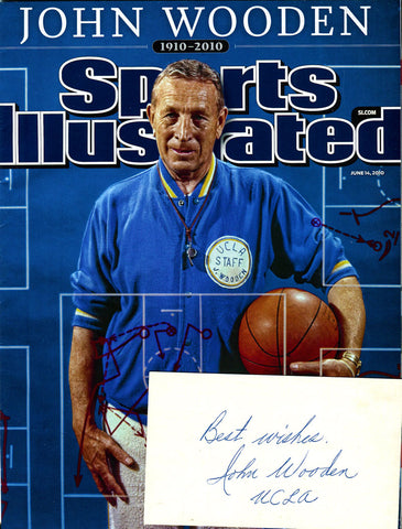 John Wooden Signed 3x5 Card w/ Unsigned Magazine