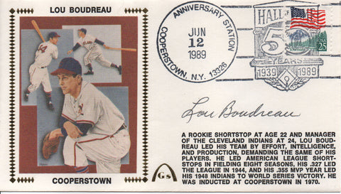 Lou Boudreau Autographed June 12, 1989 First Day Cover