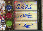 Andrew Luck Robert Griffin III and Russell Wilson Autographed 2013 Topps Rookie Jersey Card