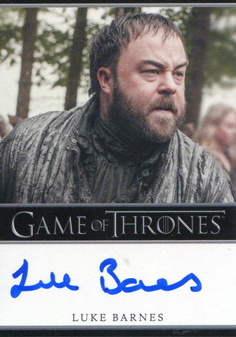 Luke Barnes Autographed 2014 Game of Thrones Card