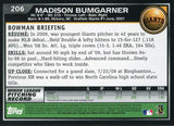 Madison Bumgarner Unsigned 2010 Bowman Rookie Card