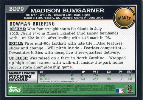 Madison Bumgarner Unsigned 2010 Bowman Chrome Rookie Card