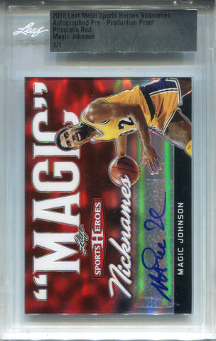 Magic Johnson Autographed 2018 Leaf Metal Sports Heroes Card (LEAF)