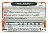 Manny Machado Unsigned 2013 Bowman Chrome Rookie Refractor Card
