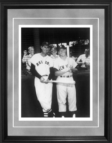 Ted Williams and Mickey Mantle Framed Black & White 11x14 Photo