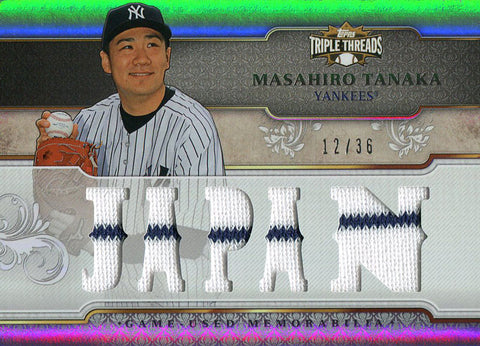 Masahiro Tanaka Unsigned 2014 Topps Triple Threads Rookie Jersey Card
