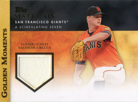 Matt Cain Unsigned 2012 Topps Golden Moments Jersey Card