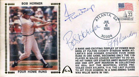 Willie Mays, Bob Horner & Jeff Reardon Autographed Gateway First Day Cover (JSA)