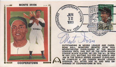 Monte Irvin Autographed June 12 1989 First Day Cover