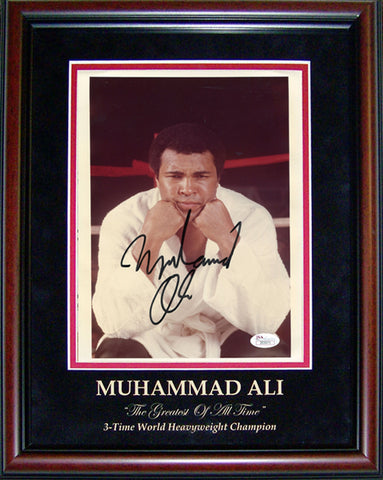 Muhammad Ali Autographed Framed Posing to the Camera 8x10 Photo (JSA)