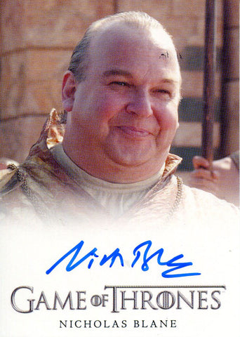 Nicholas Blane Autographed 2012 Game of Thrones Card