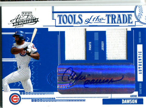 Andre Dawson 2005 Donruss Tools Of The Trade Dual Relic/Autographed Card #12/25