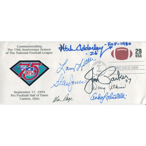 Herb Adderley, Larry Little, Stan Jones, Alan Page, Doug Atkins, Jim Parker, and Andy Robustelli 1994 Autographed First Day of Issue Cache