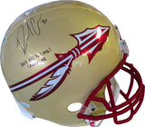 Rashad Greene 2013 BCS National Champions Autographed Florida State University Seminoles Light Gold Helmet (JSA)