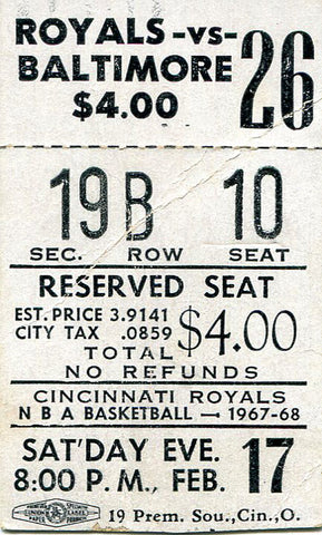 1967-1968 Cncinnati Royals vs. Baltimore Bullets Unsigned Regular Season Ticket