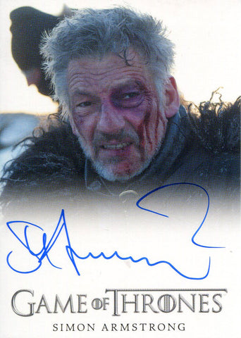 Simon Armstrong Autographed 2012 Game of Thrones Card