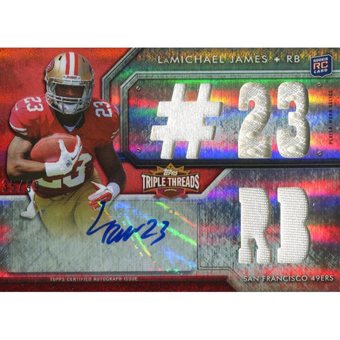 LaMichael James Autographed 2012 Topps Triple Threads Rookie Jersey Card