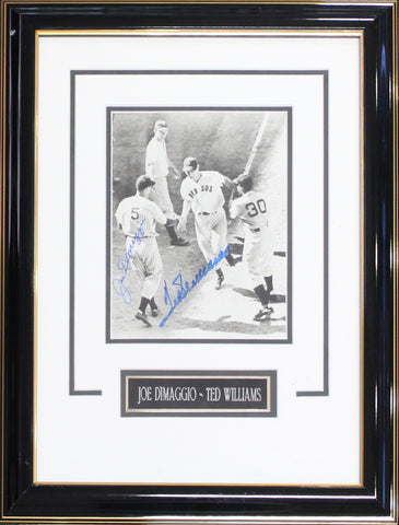 Joe DiMaggio & Ted Williams Autographed Framed 8x10 Photo
