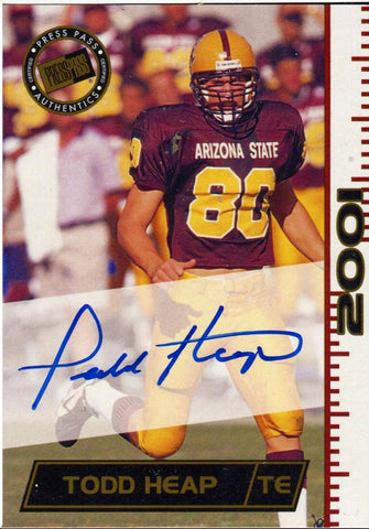 Todd Heap Autographed 2001 Press Pass Card