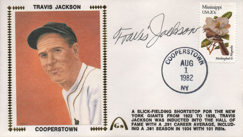 Travis Jackson Autographed Aug 1, 1982 First Day Cover