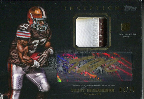 Trent Richardson Autographed 2012 Topps Inception Rookie Jersey Card