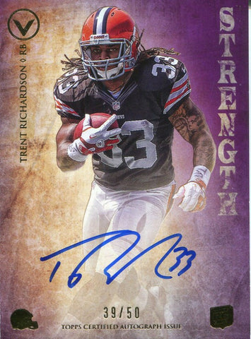 Trent Richardson Autographed 2012 Topps Valor Rookie Card