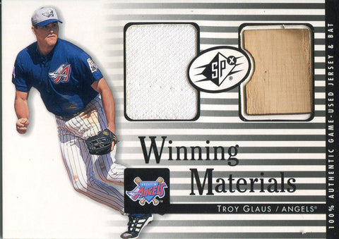 Troy Glaus 2000 Upper Deck SPx Jersey Bat Card