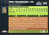 Troy Tulowtizki Autographed 2007 Topps Chrome Rookie Card Back