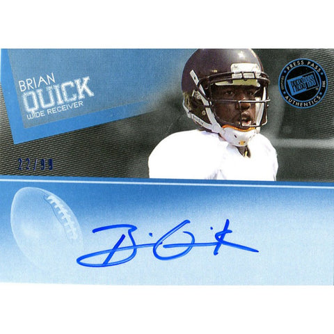 Brian Quick Autographed 2012 Press Pass Card