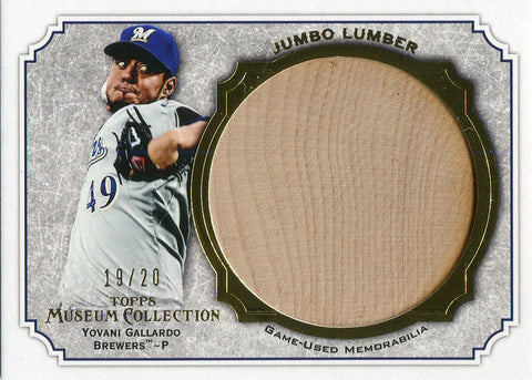 Yovani Gallardo Unsigned 2013 Topps Museum Collection Bat Card