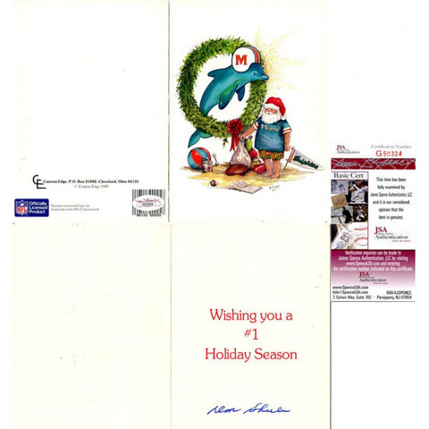 Don Shula Signed Holiday Greeting Card JSA