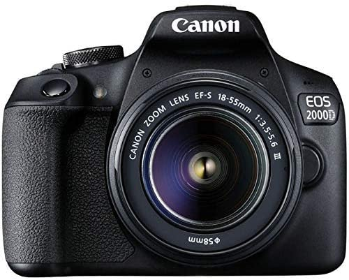 Canon EOS 2000D DSLR Camera + EF-S 18-55 mm f/3.5-5.6 III Lens - Black