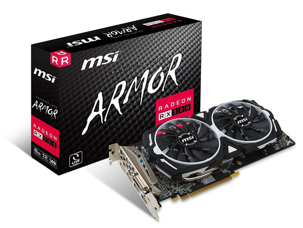 MSI RADEON RX 580 ARMOR 8G OC Graphics Card '8GB GDDR5, 1366Hz, AMD Polaris 20 XTX GPU, 2x DisplayPort, 2x HDMI, DVI-D, Dual Fan Cooling System'