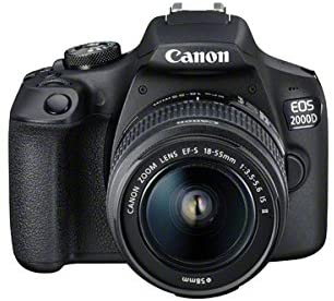 Canon EOS 2000D DSLR Camera + EF-S 18-55 mm f/3.5-5.6 IS II Lens - Black