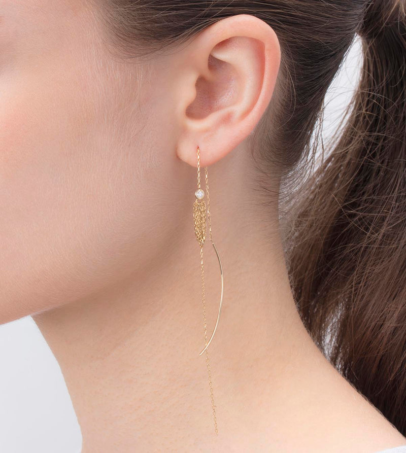 Crinoid Long Chain Arrow Earring