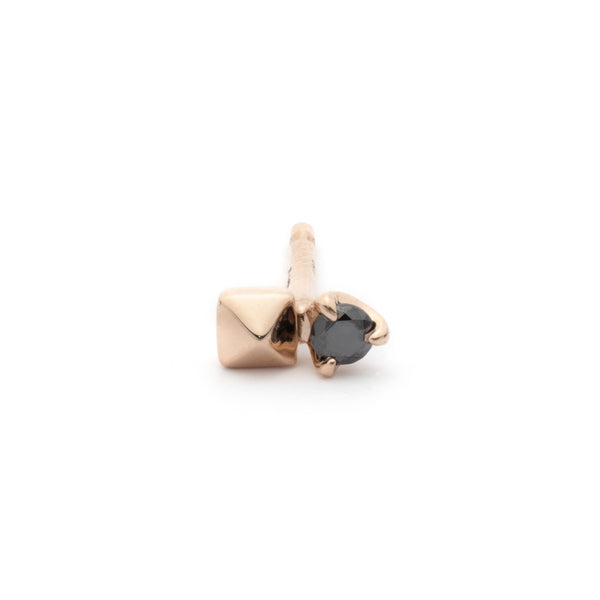 18k Black Diamond Pyramid Stud Earring (Rose gold)