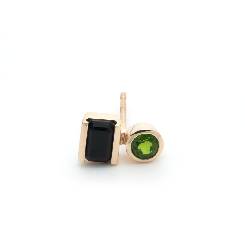 Bird Of Paradise Stud Earring Onyx & Chrome Diopside