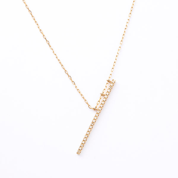 Obliqueness Diamond Bar Neclace