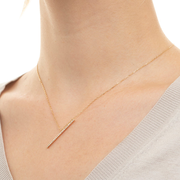Obliqueness Diamond Bar Necklace