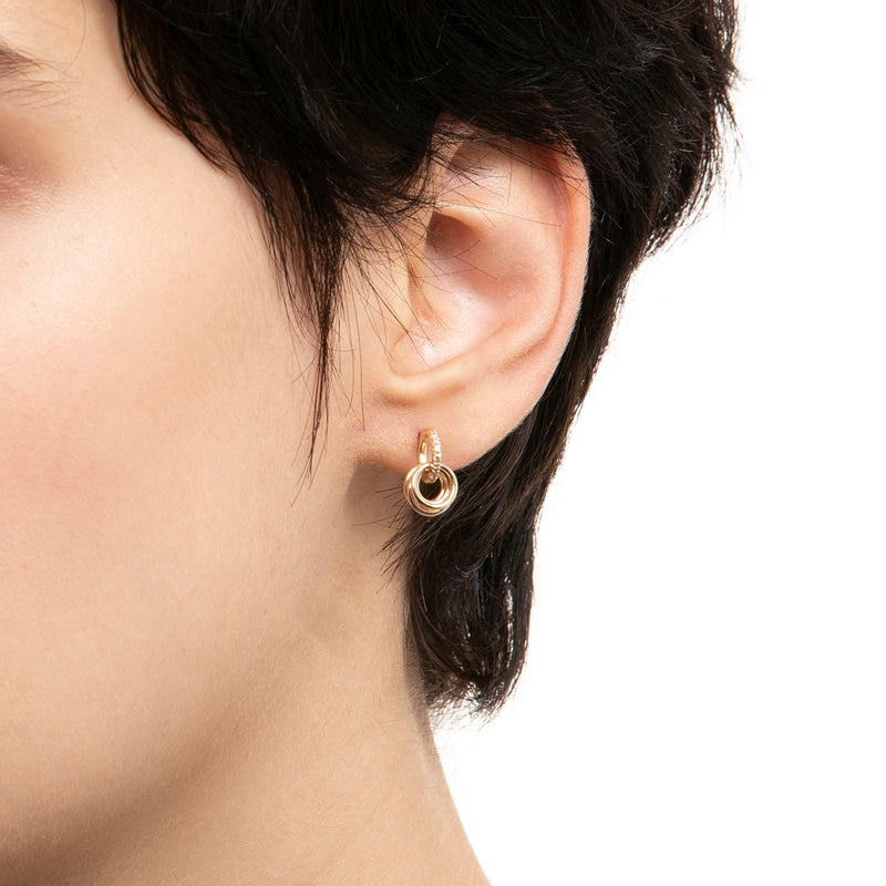 Diamond Earring with Thick 5 Hoops