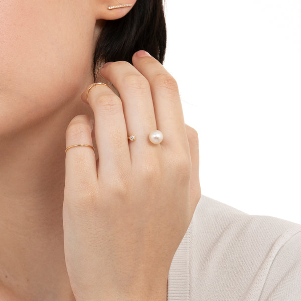 Akoya Pearl Diamond Cuff Ring