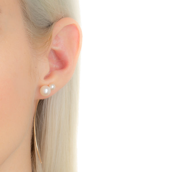 Double Akoya Pearl Arrow Earring