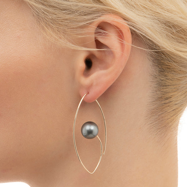Tahitian Black Pearl Floating Oval Earring L
