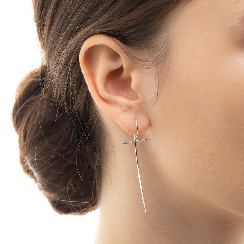Gossamer Diamond Bar Hook Arrow Earring