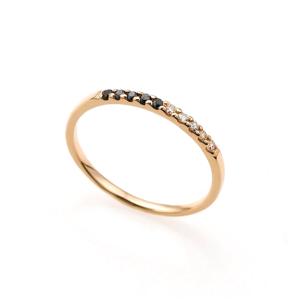 Gossamer Diamond Pinky Ring (White and Black Diamond)