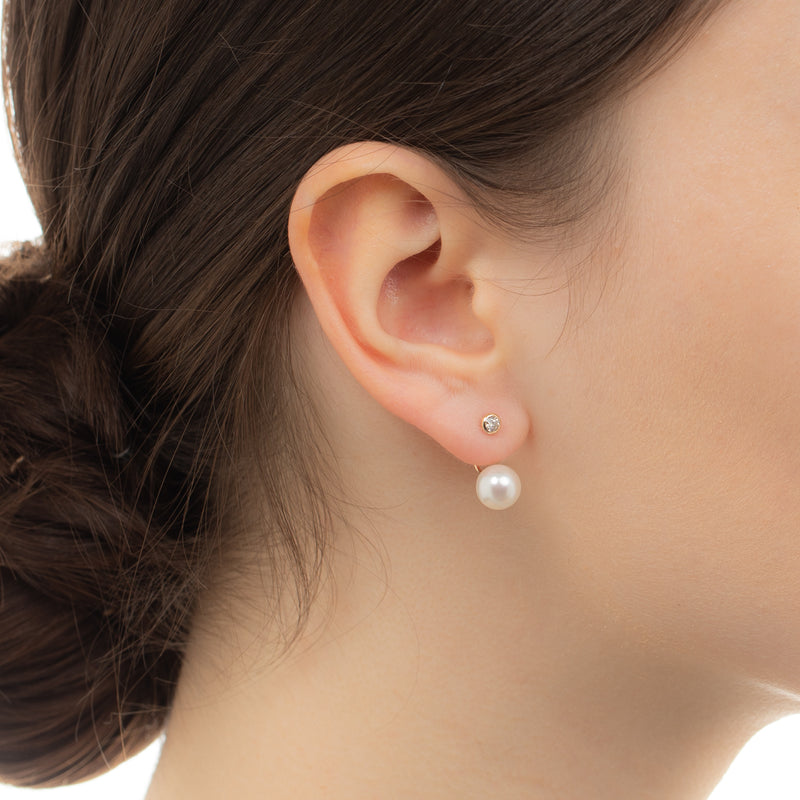 Diamond Earring with Pearl Back