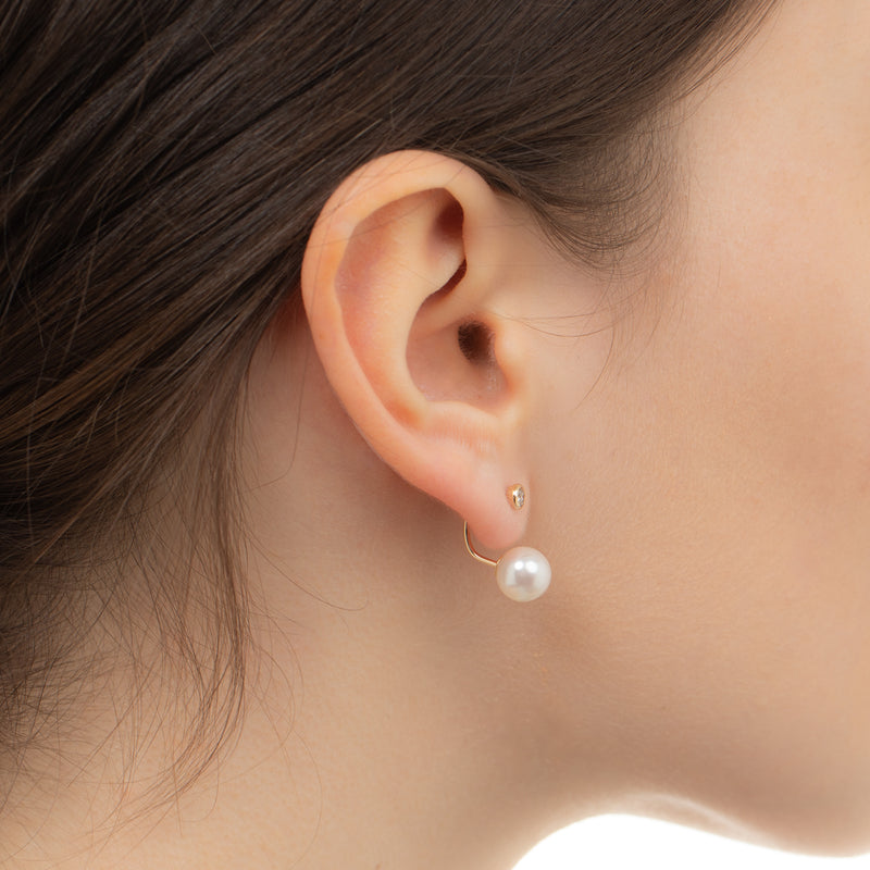 Diamond Earring with Pearl Backing