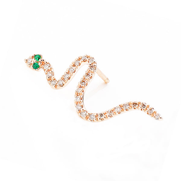 Emerald Eye Snake Earring