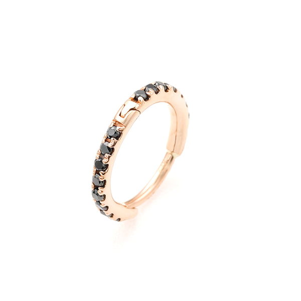 18k Black Diamond Hoop Earring M size (Rose Gold)